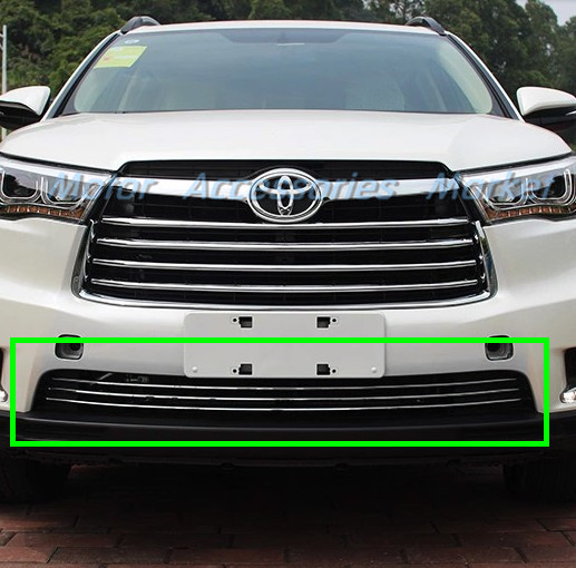 New Chrome Stainless Steel Bumper Grille Air Vent Chrome Trim For Toyota Highlander 2014 2015 2016