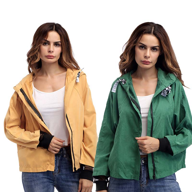 New 2018 Autumn winter   Jacket   Coat Solid Color Hooded Bomber   Jacket   Women Baseball   Basic     Jacket   Female Casual Fashion Coat
