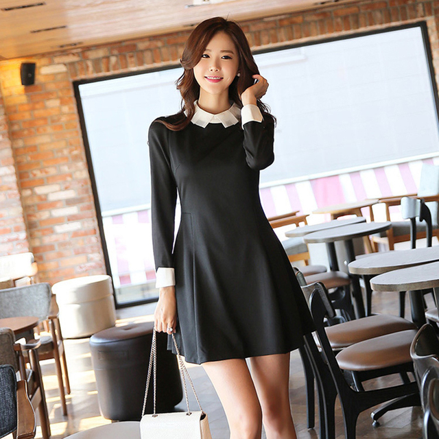 2017 New Fall Style Female Casual Clothes A Shirt Collar Dress Party