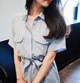 2016 Cor Azul Mulheres Camisa Polo Tops Mangas Curtas Longa Causal camisa Pólo de Bolso No Peito Femme Mulheres Polo Camisa Pólo Para As Mulheres