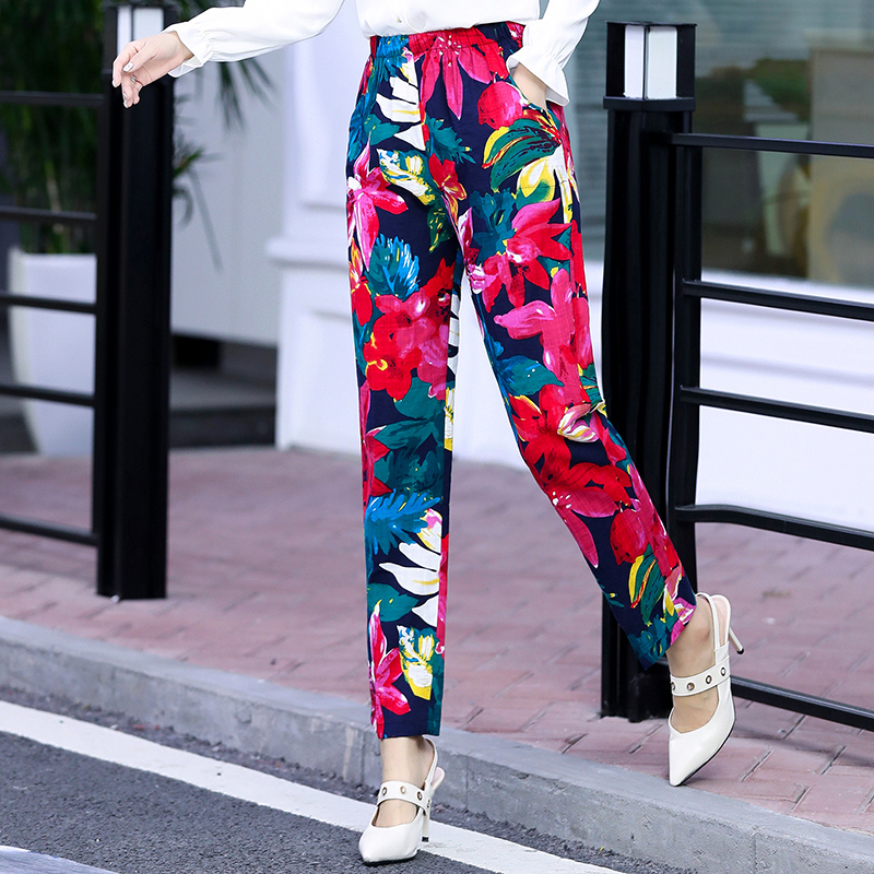 2019 New Boho Print Elastic Waist Women Pants Summer Beach Pants Slim Casual Korean Pencil Pants Womens Clothing Plus Size 5XL