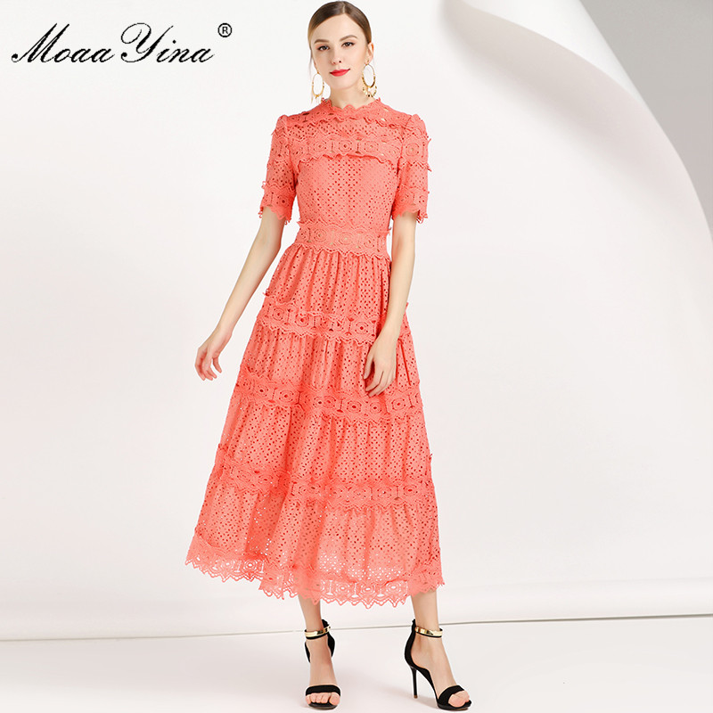 MoaaYina Fashion Designer Runway Dress Summer Women Dress Short sleeve Lace Floral Embroidery Hollow out Slim