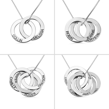AILIN Engraved Name Russian Circle Necklace Custom 2-5 Circles Pendant Anniversary Gift for Her