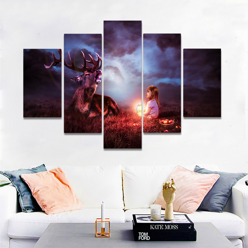 Unframed Canvas Painting Night Elk Little Girl Holding A Lamp Picture Prints Wall Picture For Living Room Wall Art Decoration