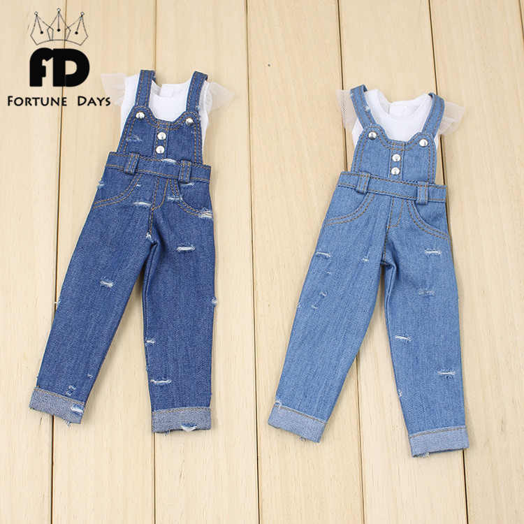 Free shipping suitable for blyth Doll icy apron dress blue jeans lace white clothes umpsuits 1/6 цена и фото