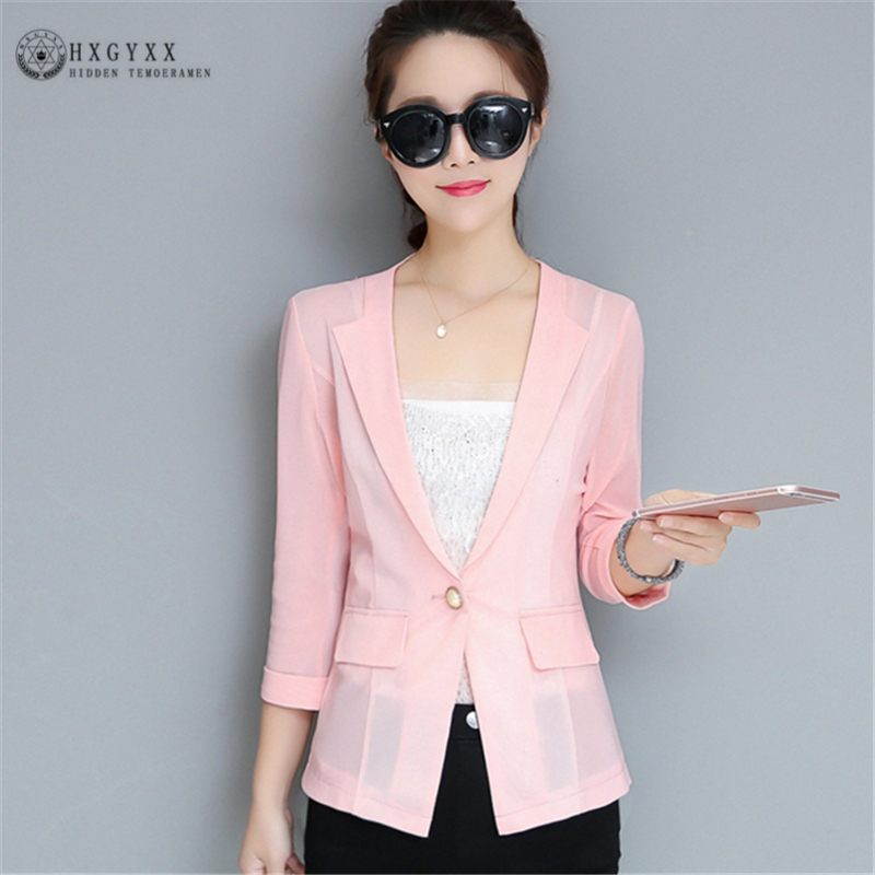 2019 Spring Summer New Slim Small Suit Short Transparent Seven-point Sleeves Women Suit Fashion Casual Korean Top W036