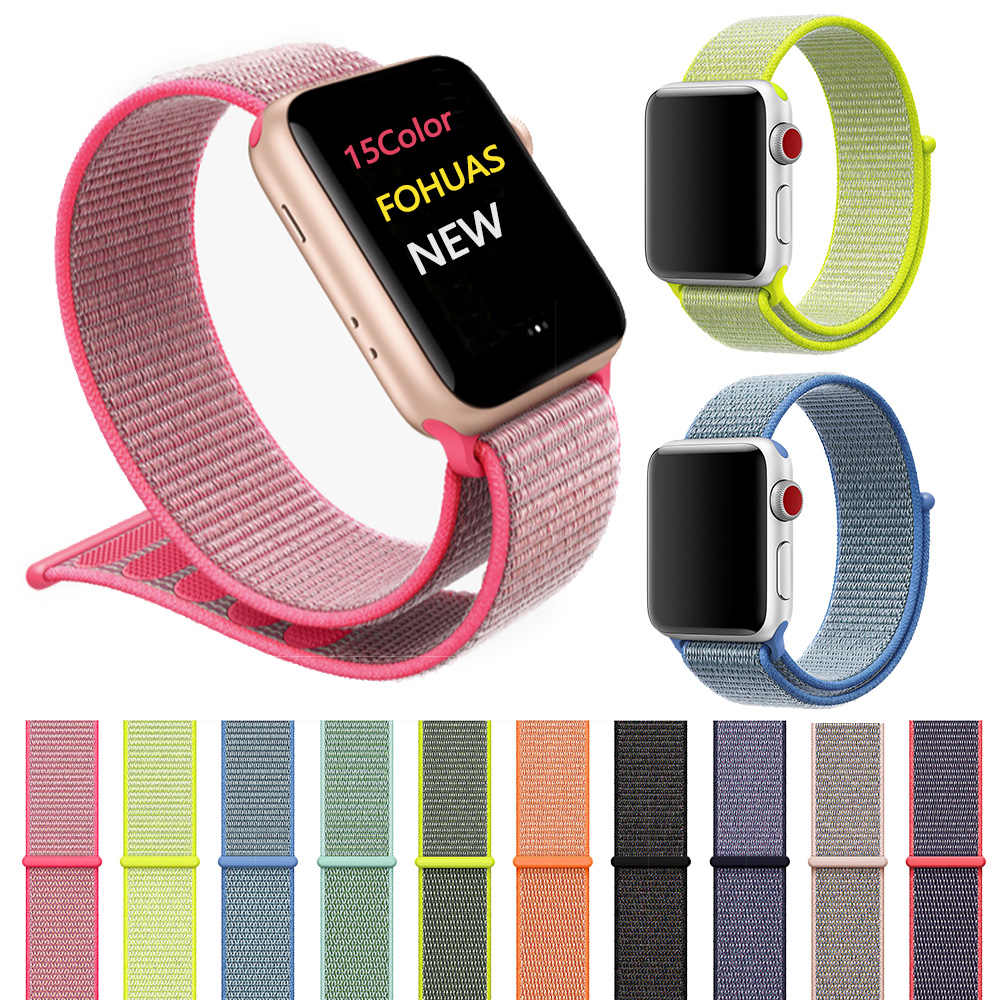 Correa de nylon tejida deportiva para apple watch correa de 44mm muñequera correa de nylon iwatch series 5 4 3 2 1 38mm 42mm Velcro