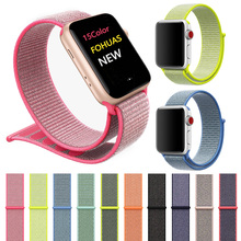цена на sport woven nylon loop strap for apple watch band 44mm wrist braclet belt fabric nylon iwatch series 5 4 3 2 1 38mm 42mm Velcro