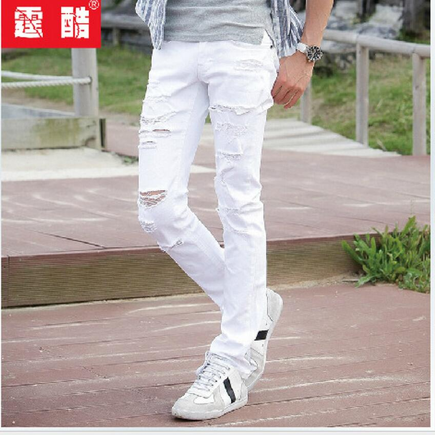 27-36 NEW Korean spring new casual white hole skinny jeans tide men Slim pencil pants feet trousers hairstylist singer costumes 2016 new brand spring korean version of the retro men s trousers tide big yards jeans slim pants feet hole tide size 29 36