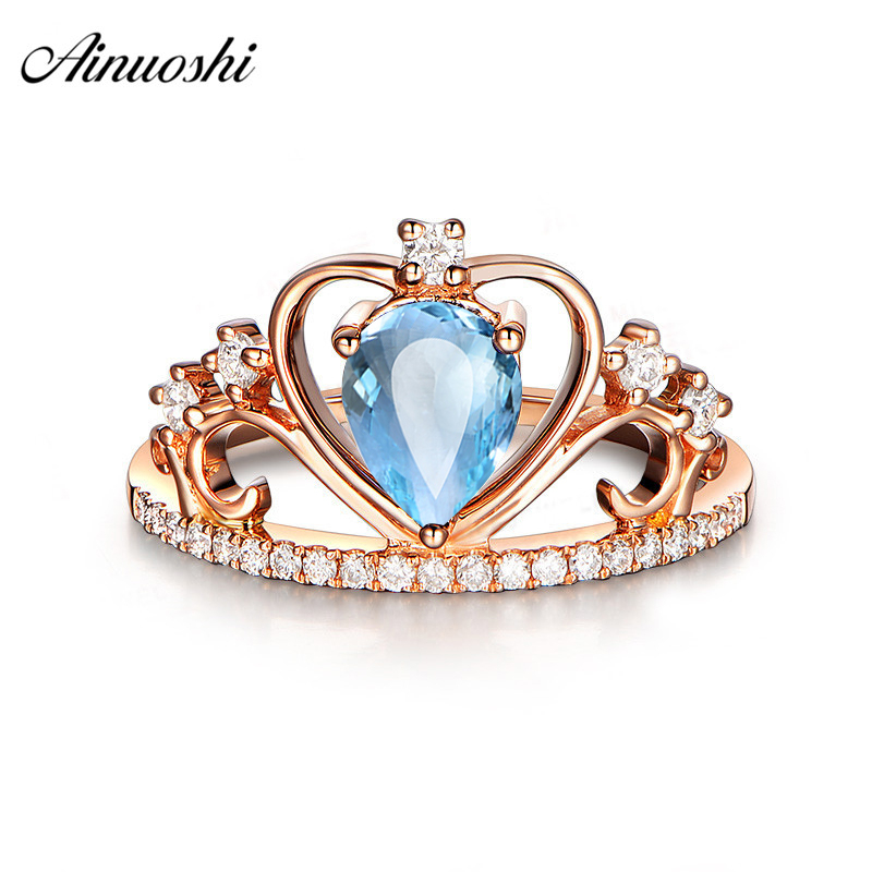 AINUOSHI 1 Carat Pear Cut Natural Topaz Queen Crown Ring Pure 925 Silver Blue Topaz Heart Ring Rose Gold Color Princess Ring new pure au750 rose gold love ring lucky cute letter ring 1 13 1 23g hot sale