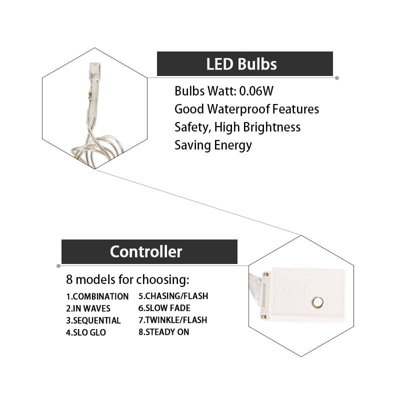 JULELYS 2 * 1.5 124 էլեկտրական լամպ Սրտի LED - Տոնական լուսավորություն - Լուսանկար 4