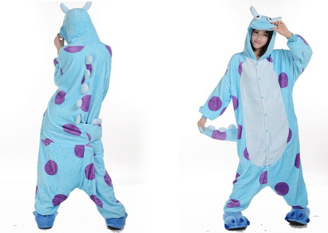 fb69884d5244 Winter Warm Fleece Anime Monsters Inc Sulley Cos Pajamas Adult Unisex  Onesie Plus Size Halloween Costumes Cosplay Dress