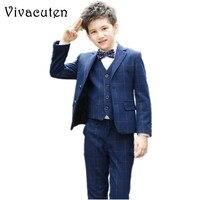 Boys Suits For Wedding Jacket Vest Shirt Pants Tie 5pcs Clothing Set Kids Prom Clothes Boy Costume Dress Suits Plaid Blazer F092