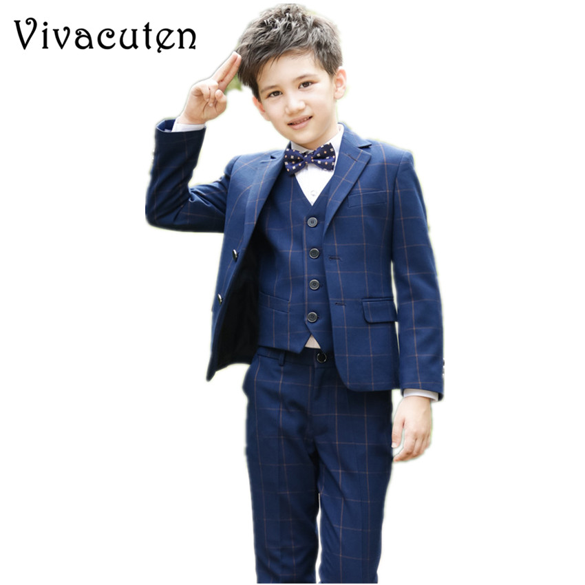 Boys Suits For Wedding Jacket Vest Shirt Pants Tie 5pcs Clothing Set Kids Prom Clothes Boy Costume Dress Suits Plaid Blazer F092 kids clothing set plaid shirt with grey vest gentleman baby clothes with bow and casual pants 3pcs set for newborn clothes