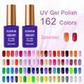 15 ml 2 unids UV Llevó La Lámpara de Uñas de Gel Soak Off Gel Esmalte de Uñas de Gel de Color de Moda Vernis Semi Permanente 162 Colores Gelpolish