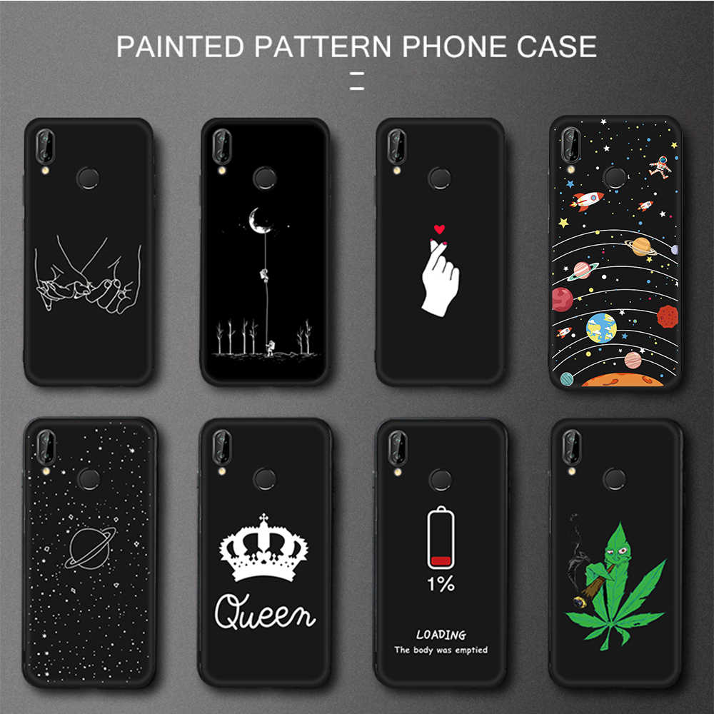 Pattern Painted TPU Case For Huawei Honor 10 9 8 Lite 6C Pro 8A 8X Max 8C V20 V9 Play Magic 2 Note 10 Black Matte Cover Capa