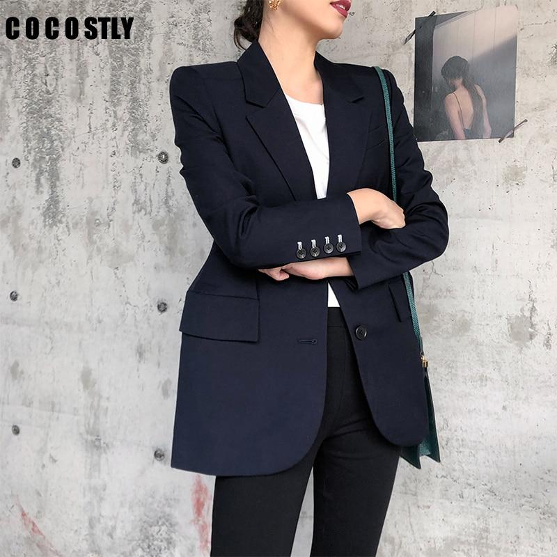 Grey Women Blazers And Jackets 2019 New Spring Autumn Fashion Single Button Blazer Femenino Ladies Suit Blazer Female