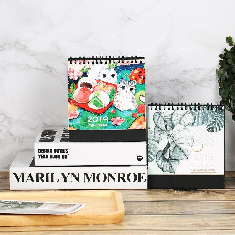 Analytical 2019 Cute Cartoon Cat Van Gogh Table Calendar Desk Planner Paper Stationery Office School Supplies 2018.08~2019.12 Calendar
