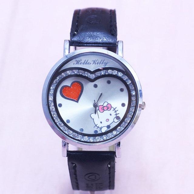 Hot Sales Brand cute hello kitty watch children girls women crystal dress quartz wristwatch Kids Clock