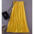 Mujeres libres del envío de la falda más el tamaño 4xl 5XL largo 2015 primavera verano mujeres Color sólido Modal falda faldas de gran tamaño amarillo JM47