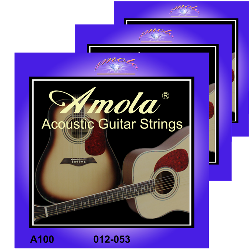 Original Amola .012-.053 A100 어쿠스틱 기타 액세서리 용 어쿠스틱 기타 현 3 기타