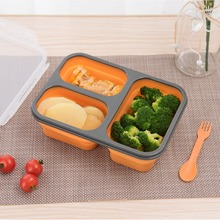 ANHO Lunch Box Folding Food Container Silicone Bento Box Portable Bowl Dinnerware Collapsible Food Storage for Kids Picnic
