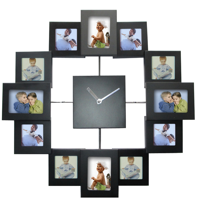 European Style Photo Frame Wall Clock Modern Design Watch Home Decoration for Living Room