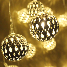 1M Golden Moroccan Orb LED String Lights Battery Operated with 10  Leds, Christmas wedding decorative lights lumineuse guirlande