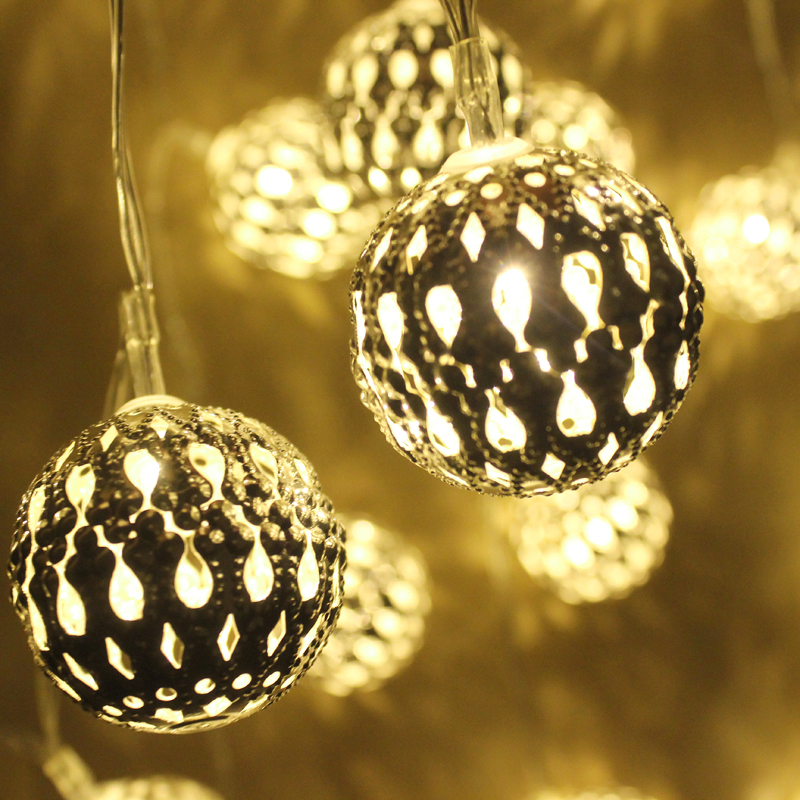 1m golden moroccan orb led string lights battery operated with 10 leds christmas wedding decorative lights lumineuse guirlande - Decorative Orbs