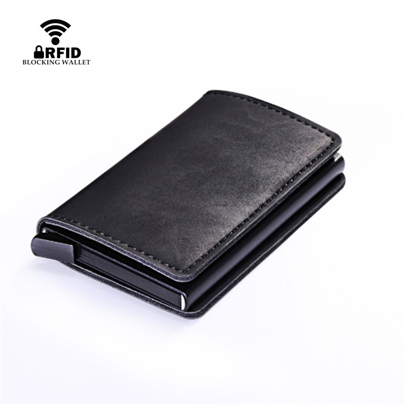 Bycobecy Smart Wallet Business Card Holder Hasp Rfid Wallet Aluminum Metal Credit Business Mini Card Wallet Dropshipping  Purses(China)