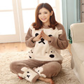 2016 Hot Spring and Autumn Brown Bear Pajama set Round Neck Flannel Cartoon Pajama Thick warm Home Sleepwear