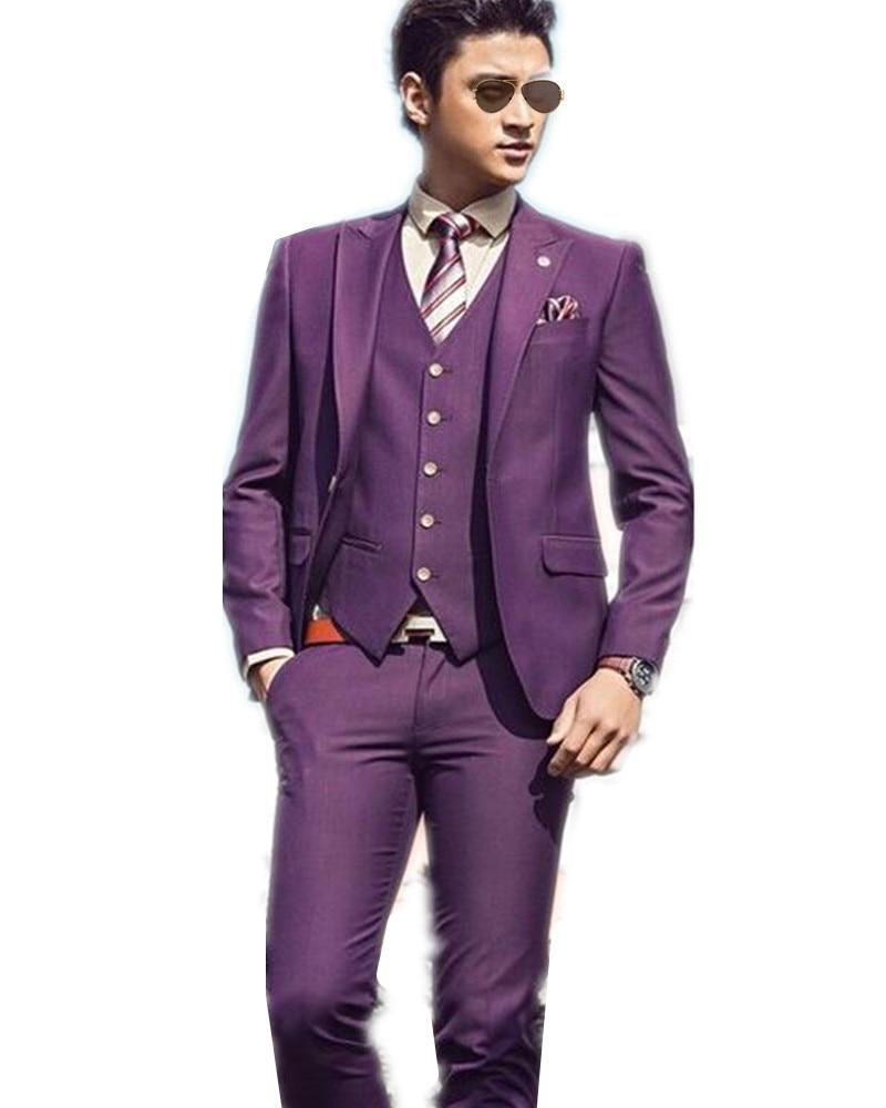 Handsome Man S Suits Slim Fit Purple Groom Wedding Tuxedo