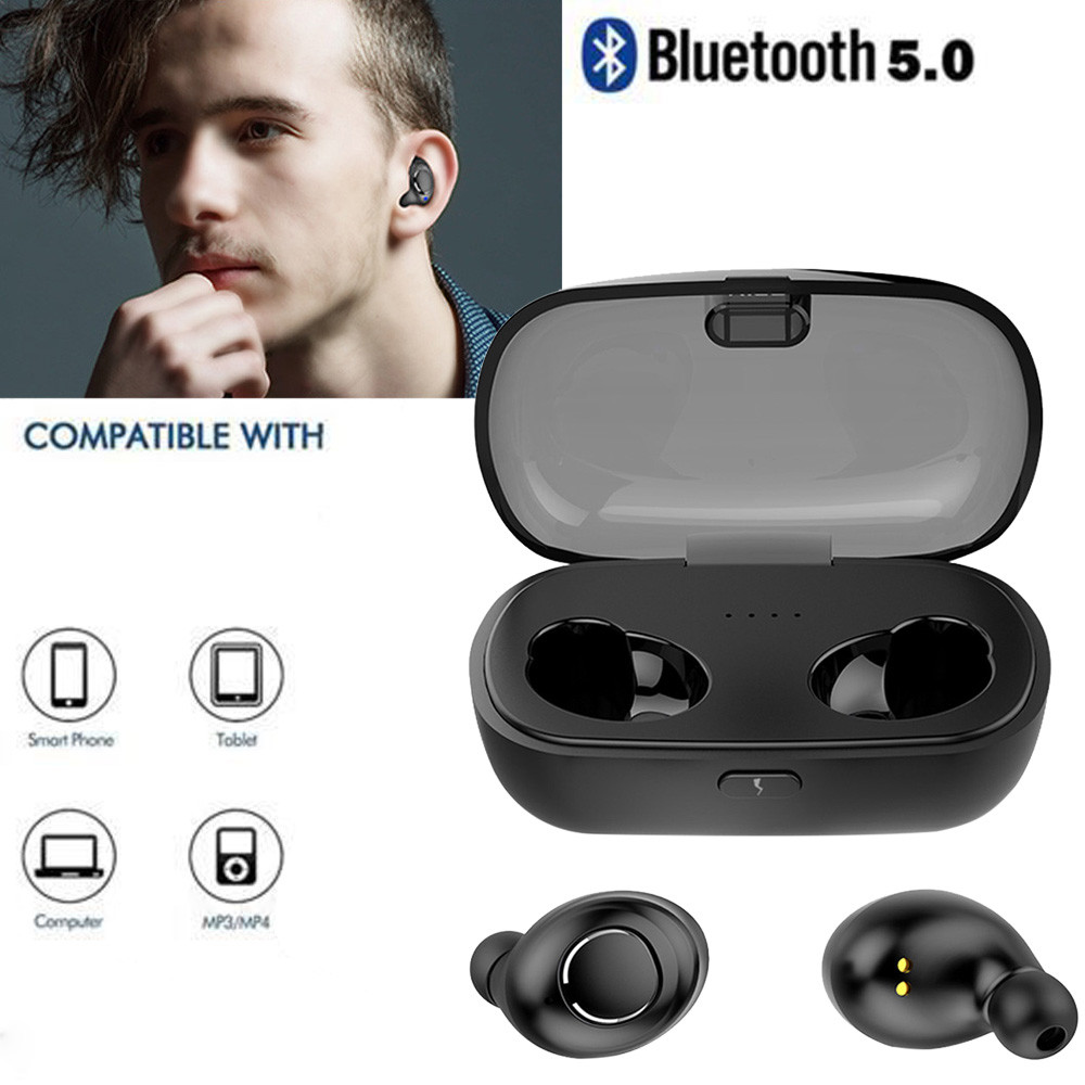 Binmer Invisible Bluetooth Earphones 5.0 TWS Mini Wireless Earbuds Stereo Deep Bass Headset with charging box Portable Dropship