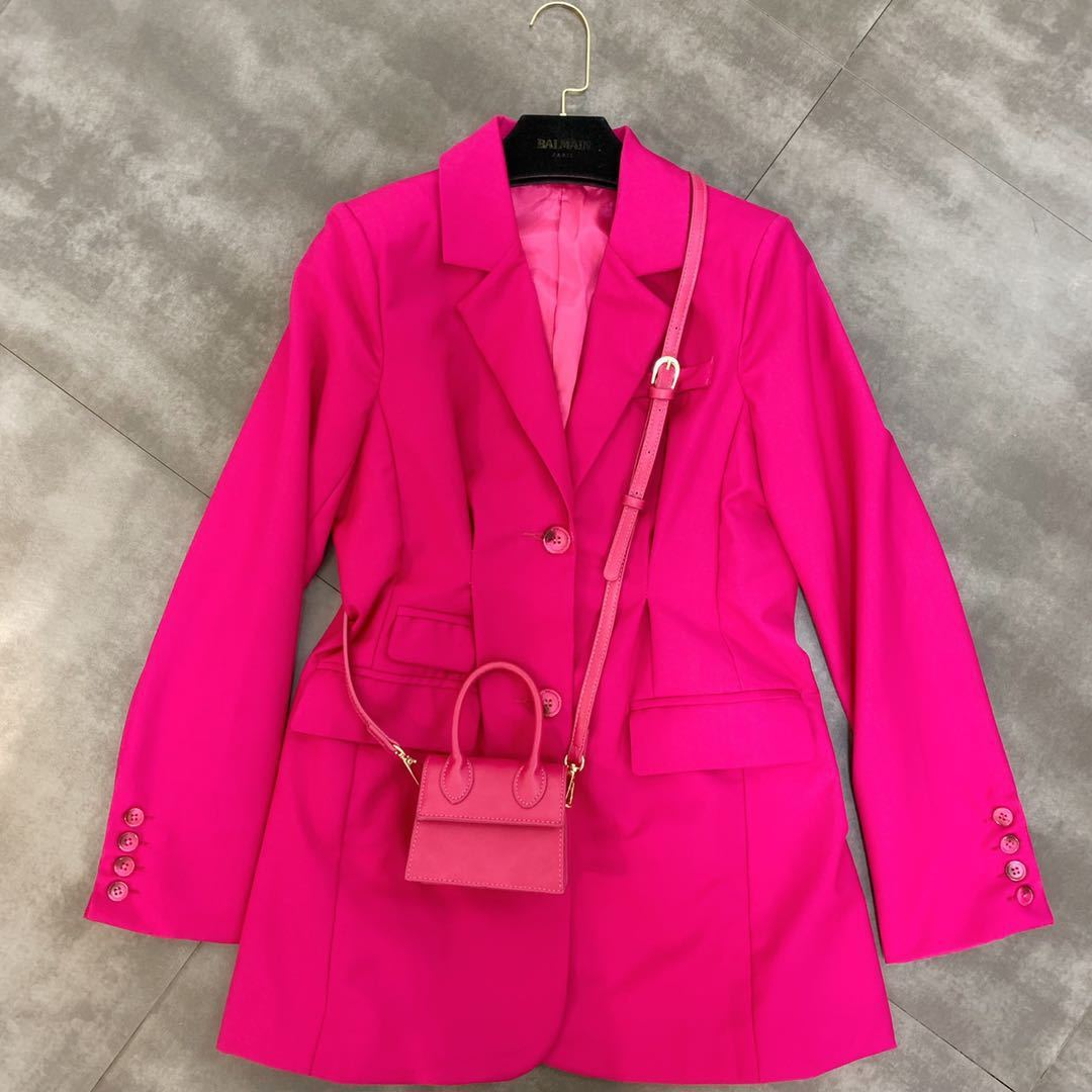 DEAT Coat Women Fuchsia Suit Long-Sleeve Autumn Single-Breasted Button Turn MG042 Down-Collar