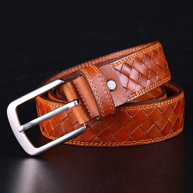 Diseñador de marca de lujo Cuero auténtico hombres Cinturón trenzado hecho a mano capa superior cintura Correa vintage trenza cinturón ceinture homme