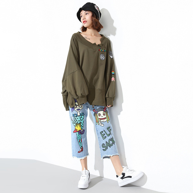 {XITAO} 2017 new spring Korean style female long sleeved solid color V-neck pullover batwing sleeve casual female T-shirt  XY003