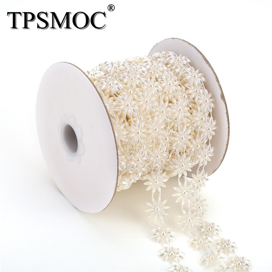 TPSMOC Free shipping 10Yards costume applique 15mm flower shape pearl  trim chain Wedding dress Wedding Decoration