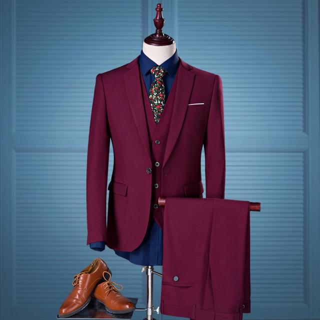 2016 осень/зима мужской 3 шт костюмы wine red slim fit жених свадьбы формальные платья костюмы M-4XL плюс размер пиджак + жилет + брюки набор