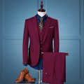 2016 autumn/winter male 3pieces  suits wine red slim fit groom wedding formal dress suits M-4XL plus size blazer+vest+pants set