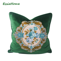 ESSIE HOME Luxury Green Moss Emerald Green Velvet Embroidery Cushion Cover Pillow Case Lumber Pillow Case Embroidery Rose