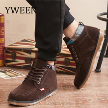 YWEEN New Men Boots Fashion Lace-up Cotton Boot Men Comfortable Shoes For Winter