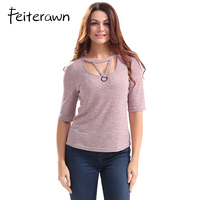 Feiterawn Sexy Ring Knitted Hollow Out T Shirts Top Summer Ladies Casual O Neck Half Sleeve