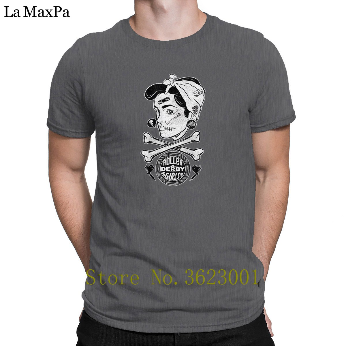 Knitted S-3xl Tee Shirt For Men Zombie Roller Derby T-Shirt Slim Slogan T Shirt For Men Summer Style Tshirt Nice Pop Top Tee