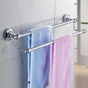 Antique Chrome Towel Rack Wall Mounted Solid Brass Towel Bar 2-Layers Polished Towel Holder Wall Mounted Bathroom Hardware Sets