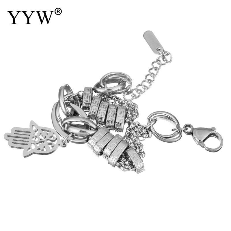 YYW Vintage Islamic Original Color Stainless Steel Jewelry Bracelet Hollow Hamsa Hand Geometric Charm Wristband Bracelets woman