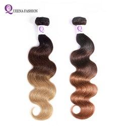 Pasma ludzkich włosów z farbowaniem Ombre włosy brazylijskie Ombre wyplata wiązek Ombre doczepy typu Body Wave blond T1B/4/27 30 włosy inne niż Remy rozszerzenia