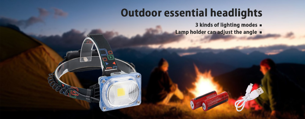 LED COB Head lamp Light Headlight Torch For Outdoor Camping Hiking Fishing
