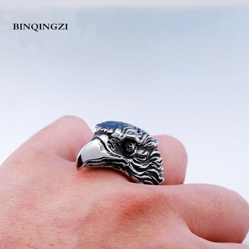 Punk zinc alloy Eagle head Ring men Biker Vintage animal ring skull Fashion Jewelry stylish woven cord skull cross leaf cow head turquoise zinc alloy bracelet multicolored