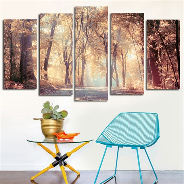 Canvas Modern Wall Art Poster Frame Home Decor HD Printed Painting 5 Panels Autumn Leaves Tree Landscape Modular Pictures