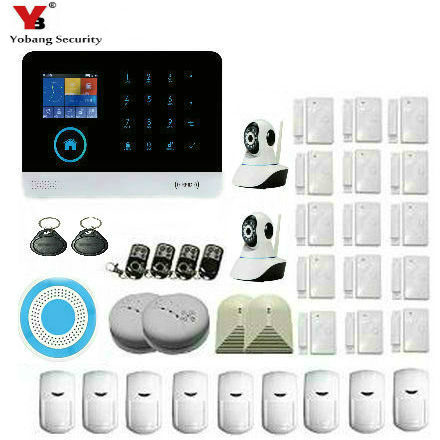 YobangSecurity Wireless Wifi Gsm Home Security Alarm System with Auto Dial Wireless Siren Smoke Detector Door PIR Motion Sensor yobangsecurity touch keypad wifi gsm gprs home security voice burglar alarm ip camera smoke detector door pir motion sensor